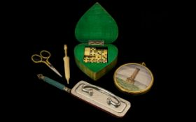 Collection of Vintage Items to include vintage set of miniature dominoes in heart shaped wooden box;