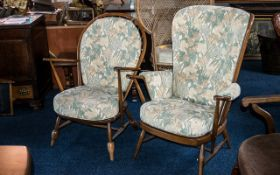 Pair of Ercol Elm Golden Dawn Windsor Upholstered Arm Chairs with open arms. Please see images.