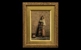 An Italian Watercolour Drawing of a girl in traditional garbe,