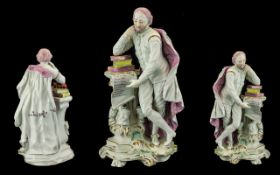 Large Derby Figure of Shakespeare Leaning Against a Pedestal with books on a scroll rococo base,
