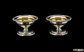 George III Very Fine Pair of Pedestal Shaped Silver Salts with Gilt Interiors. Hallmark London 1803.
