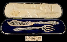 George Unite Superb Quality Boxed Pair of Sterling Silver Large Fish Servers. Comprises 1.