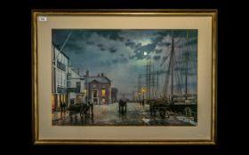 Rodney Charman Large Coloured Print 'Dockland Scene'. Framed mounted and glazed behind glass.