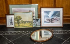 Collection of Prints comprising a McDonald print 'Mountain Mist' mounted and framed behind glass,