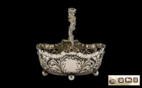 Victorian Period Good Quality Ornate Open Worked Silver Swing Handle Basket - of small proportions.