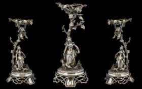 French 19thC Large and Impressive Figural Silver Plated Centrepiece of Excellent Quality and Form -