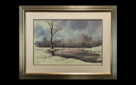 Watercolour Drawing of a Winter Landscape signed J. Boel framed and glazed in contemporary frame.