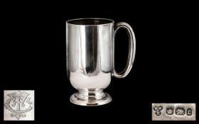 Victorian Period Silver Tankard of Plain Form - with c shaped handle. Hallmark London 1895, maker W.