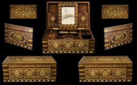 Anglo-Indian Antique Fitted Box, profusely inlaid in bone/ivory with arabesque designs.