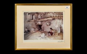 Russell Flint Watercolour Print title 'A Scrap of Newspaper'. Framed and mounted behind glass.