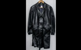 Gentleman's Long Black Leather Trench Coat with buckle belt, single breasted with collar and
