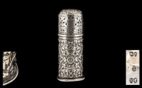 Mid Victorian Gentleman's Sterling Silver Pounce Pot Sander - with ornate pierced and embossed