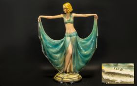 Art Deco Plaster Figurine of Large Size Dancing Girl of the Period, Painted Decoration with Slight