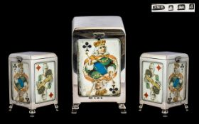 Edwardian Period Novelty Nice Quality Sterling Silver Hinged Playing Cards Holder in Cabinet Form -