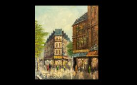 Large Oil Painting by T Carson depicting a busy street scene in Paris. Oil on canvas. Signed