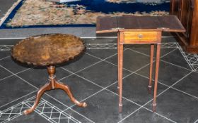 Small Extending Card Table in Mahogany with two folding sides and a small drawer to the front.