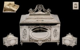 German WMF Silver Plated Jewellery Casket In The Revival Style, Moulded Leaf And Beaded Decoration,
