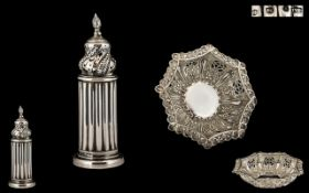 Late Victorian Period Nice Quality Silver Octagonal Shaped Small Ornate Dish - with excellent