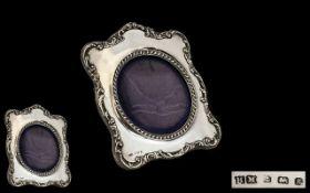 Edwardian Period Silver Photo Frame with ornate borders. Hallmark Birmingham 1906. Maker H. M.