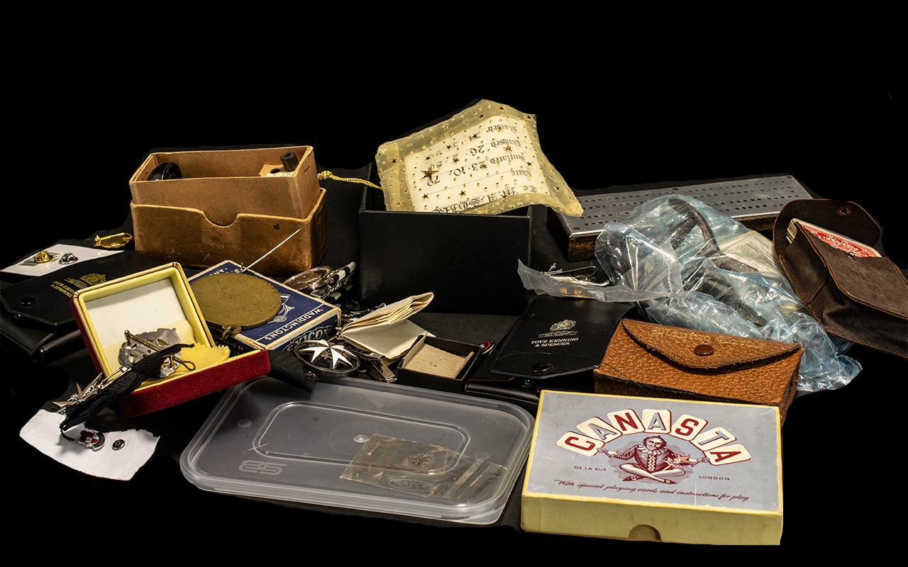 Lot 313 - Collection of Ephemera including four packs of vintage cards, comprising playing cards, Lexicon,