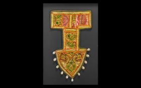 Embroidered Shaped Antique Wall Hanging in the shape of an anchor, highlighted in coloured