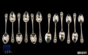 Late Victorian Period Boxed Set of Six Sterling Silver Teaspoons of excellent design.