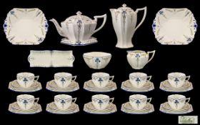 Shelley Fine Quality 1930's 49 Piece Tea / Coffee Service 'Blue Iris' pattern no. 11561.