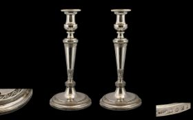 George III Superb Matched Pair of Tall and Impressive Silver Candlesticks of pleasing proportions.