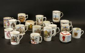 Collection of Royal Commemorative Mugs eleven in total, comprising King George & Queen Mary,