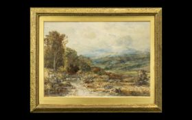 Albert Pollitt Watercolour Drawing of a Country Lane with shepherd and sheep. Signed and dated 1900.