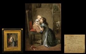 A Small Victorian Watercolour Drawing depicting a mother and child in a room setting. Circa 1860's.