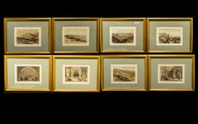 Middle Eastern And Holy Land Set Coloured Antique Prints by David Roberts RA, 8 in total,