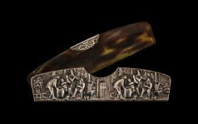 Dutch Silvered Metal Comb & Holder embossed with the Teniers Drinking Tavern Scenes (circa 1920s)