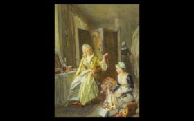 Victorian Watercolour Drawing of an Elegant Interior with a lady and her dresser - unsigned,