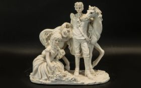 Horse & Rider Figure Russian 1970s figure of white horse and rider. Please see images.