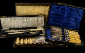 A Collection of Boxed Flatware to include Three Boxed Cased Cutlery EPNS Sets,