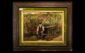 Large Victorian Coloured Print Promoted By Webbs Seeds titled 'The Gardener', depicting a bearded