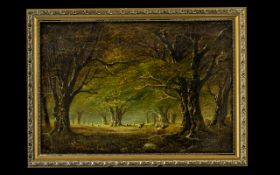 Small Victorian Oil Painting on Canvas depicting a forest scene with cattle, signed with monogram.