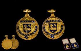 Preston & District Junior League Cup Winners & League Winners Double 9ct Gold Fotball Medals