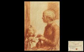 DAME LAURA KNIGHT RA, RWS, RE, RWA, PSWA, DBE (1877-1970) Mother And Child, Knitting, Red Chalk.
