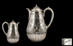 Mid 19th Century Superb Quality Sterling Silver Hot Water Jug.