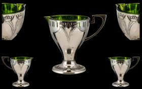Art Nouveau Period Stunning Silver Plated Jug of excellent proportions with green glass liner.