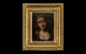 Henry Tilbury Attributed Oil Portrait on wood panel depicting a girls head and shoulders,