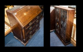 Small Georgian Mahogany Bureau Bookcase with an astral glazed top with dental moulded cornice,