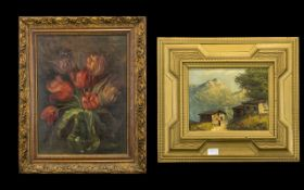 Oil on Board of Tulips in a Vase signed GB. In a gilt frame. Early 20thC size 20 by 16 inches.
