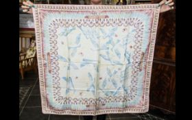 Vintage Harrod's Silk Scarf hand rolled edges. 32'' square, in delicate pastel colours with blue