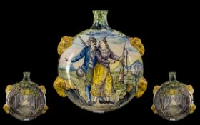 Italian Majolica 19th Nice Quality Hand Painted Rams Head Featured Ceramic Flask circa 1880's.