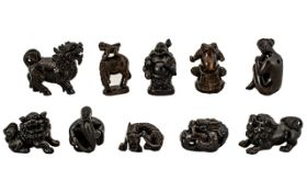 Netsuke Interest - A Total Of Ten Japanese Netsukes Comprising, Frog, Buddha, Nude Lady,