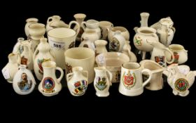 35 Pieces of Souvenir Ware various cities and towns, made by Arcadian Ware, Victoria China, Willow