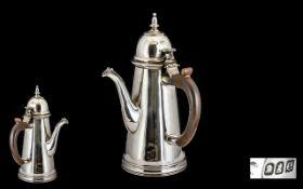 Queen Anne Style Britannia Standard Silver Chocolate Pot - of excellent form.